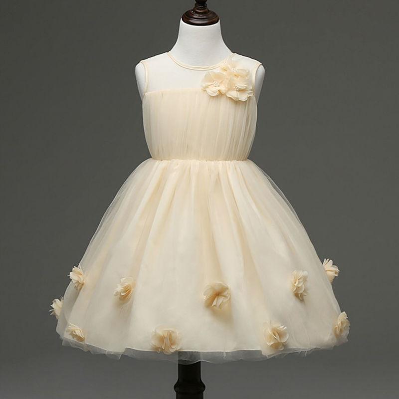 2017 Hot Sale Lovely Girls Sleeveless Princess Dresses Kids Wedding Party Flower Dress Free Shipping<br><br>Aliexpress