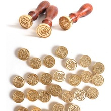 Retro Wood Classic 24 Letter A-Z Alphabet Initial Sealing Wax Seal Stamp Post Decorative