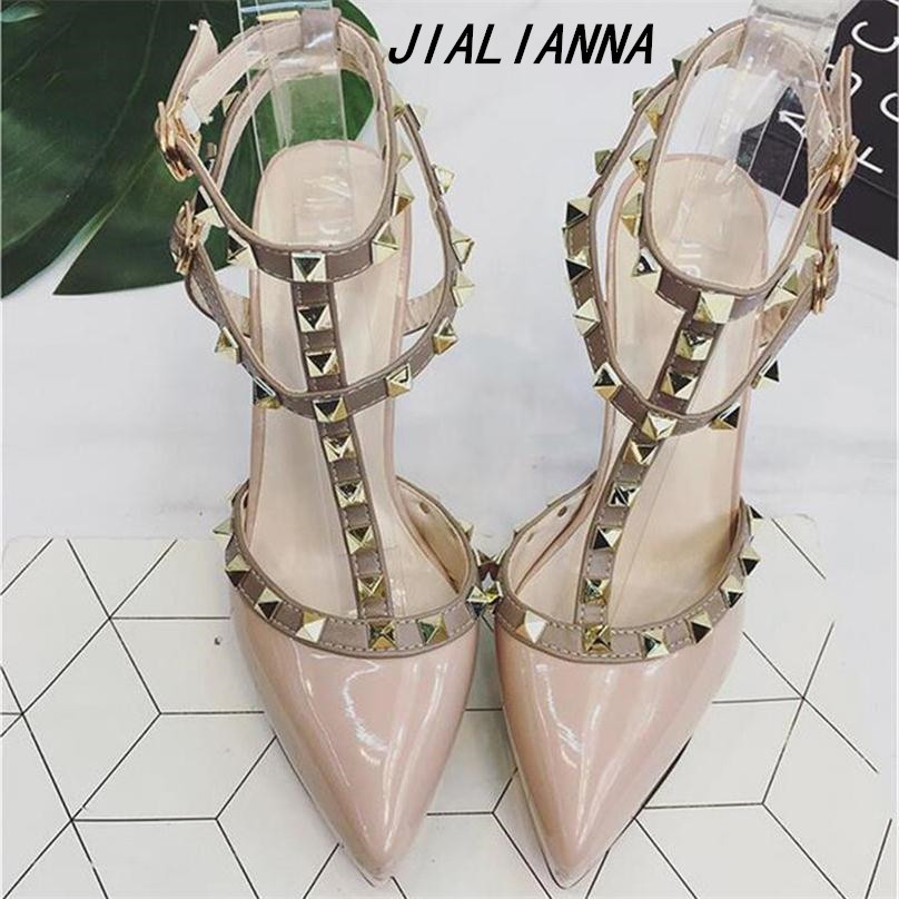 JIALIANNA New Hot Women Platform Pumps Ladies Sexy Round Toe Rivet High Heels Shoes Fashion Buckle Studded Stiletto Sandals <br>