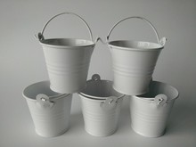 30Pcs/Lot D5.5*H5CM easter egg pot tin pots Mini Pail candy holders White Wedding favor Small Buckets Metal SF-016W(China)