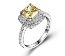 1CT Cushion Cut 18K White Gold Ring Yellow Diamond Au750 White Gold Female Colorful Stone Wedding Finger Ring