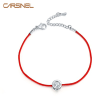 Fashion Thin Red Cord Thread String Rope Chain with CZ Zirconia Silver color Bracelet 16+5cm Length for Female Jewelry BR0123