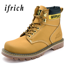 Men Fashion Casual Shoes Yellow Brown 마틴스 남성 Boots Wearable Anti-Slip 망 Motorcycle Boots 편안한 야외 Men Boots(China)