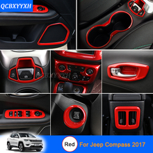 Car Styling Red color For Jeep Compass 2017 Car Interior decoration Sequins Car Sticker Inner Door Handle Box Sequins(China)
