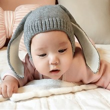 Autumn Winter Toddler Infant Knitted Baby Hat Lovely Adorable Rabbit Long Ear Hat Baby Boys Girls Bunny Beanie Cap Photo Props(China)