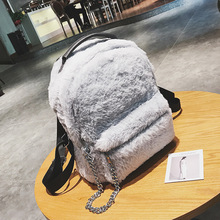 Chu JJ New Designer High Quality Women Backpack Girl School Book Bag Laptop Female Fashion Winter Luxury Faux Fur Backpack