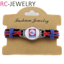 -20 Top Quality Philadelphia 76er basketball Team genuine leather Bracelet basketball fans gifts(China)