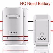 CACAZI NEW No Need Battery DoorBell 38 MUSIC Waterproof Door Bell Wireless AC 110v-240V 120M Remote EU US plug door chime V027
