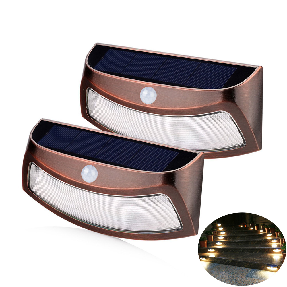 2 Pack PIR Solar Motion Light 8 LEDs Outdoor Solar Power Smiling Wall Lights Wireless Security Step Light Night Lamps for Garden<br><br>Aliexpress