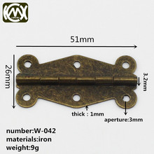 KIMXIN Hardware factory The antique wooden box hinges Green bronze 51mm Open the 180 degrees W-042 Equipped with screw(China)
