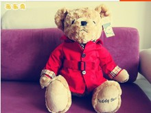 Middle cute Teddy bear toy plush red Dust coat bear toy doll birthday gift about 30cm(China)