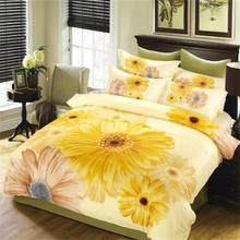 Watercolor Yellow Flowers Daisy Bedding Set Queen Size Quilt Cover Pillowcase Bed Sheets 100% Cotton Printed Bedroom Set 4pcs(China)