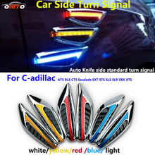 Recomend 2pcs LED car side turn signal lights indicator Blade Shape Fender Lamps for ATS BLS CTS Escalade EXT STS SLS SLR SRX X