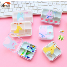 CUSHAWFAMILY Cute Mini Portable 6 Slots/4 Slots Pill Cases Jewelry Storage Box Vitamin Medicine Pill Box Storage Case Container