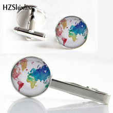 CT--0029 New Colorful World Map Tie Clip and Cufflink Multicoloured Earth Map Clips Art Photo Glass Cabochon Cufflinks