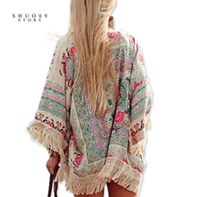Women Blouse Cape Blazer Jacket Top Summer Chiffon Blouse Silk Summer Cardigan Floral Lace Cardigan Hippie Kimono Coat(China)