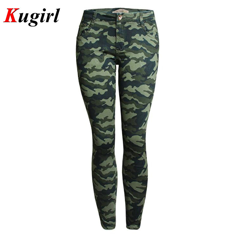 New Fall Ultra Stretch Skinny Jeans Women Military Camouflage Pants Uniform  Capris Pants Feet Pencil Denim