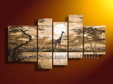 Framed 5 Panel High End Amazing Large African Decor Brown Paintings 5 Panel Wall Art Sunset Giraffe Canvas Picture  A0992