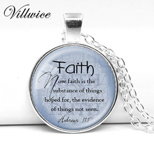 FAITH HEBREWS 11:1 Necklace Bible Quote JewelryScripture Faith Pendant Necklace Christian Jewelry Bible Verse Gift