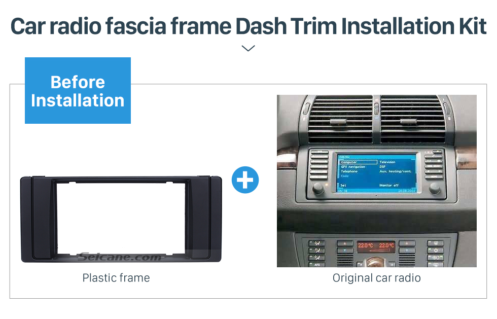 Seicane Double DIN 1995-2003 BMW5 E39 X5 E53 Car Radio Fascia DVD Player Mounting Frame Trim Installation Stereo Panel