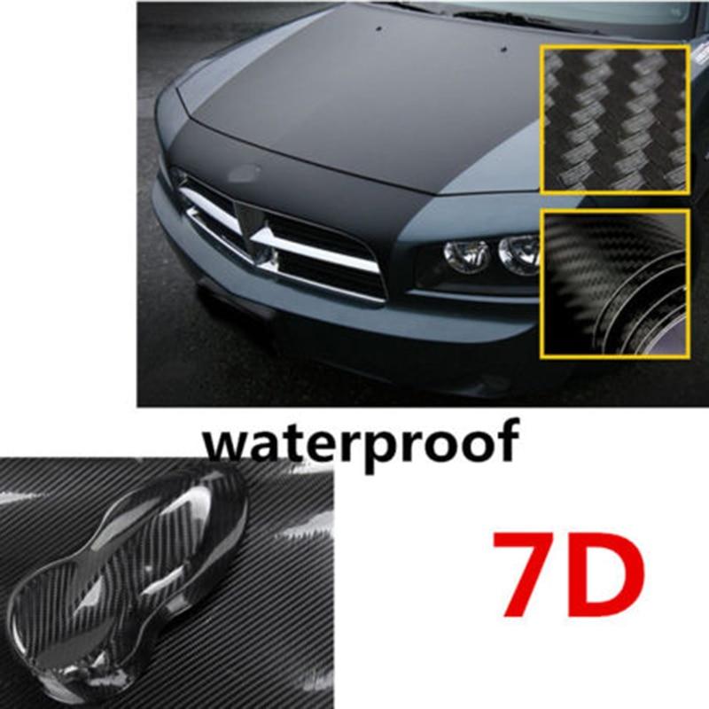 Waterproof 7D High Gloss Black Carbon Fiber Vinyl Wrap Bubble Free Air Release