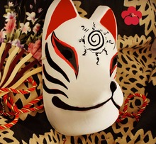 Hand-Painted Full Face Japanese Fox Mask Demon Kitsune Cosplay Masquerade Collection Japanese Noh Party Carnival C2(China)
