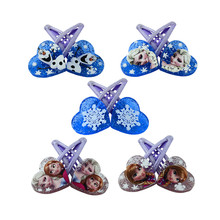 1 pair 5cm Elsa Anna Heart-shaped clip Headwear Female Girls babys Hair Accessory Wafer Side-knotted Clip Hairpin Valentine Day