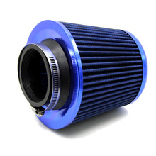 "TIROL T17876a  Universal Aluminum Round Tapered Auto Air Intake/3"" Air Filter Washable Blue Free Shipping"