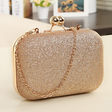 2017 New women banquet bag designer Glitter Chain Clutch Case Box Handbag small satchel bag fashion cute girls clip shoulder bag