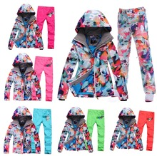 New Good Camouflage Women Snowboard Clothing Lady Skiing Suit Sets Waterproof 10K Thick Winter Warm Costume Ski Wear Jacket+Pant