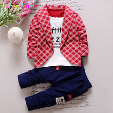 2Piece/0-3Years/Spring Autumn Baby Boys Suit Casual Fashion Plaid Coats+Pants Boutique Kids Clothing Set Children Clothes BC1226(China)