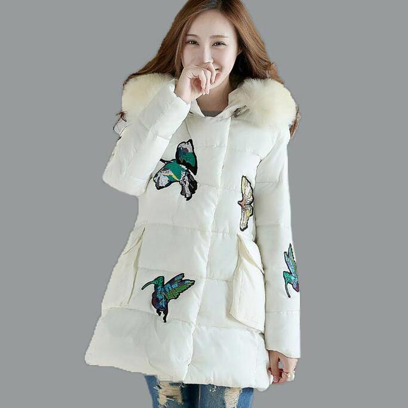 Women Cotton-padded Thick Jacket 2017 Winter Medium Long Print Down Cotton Coat Fur Collar Hooded Outwear Loose Female PW0667Одежда и ак�е��уары<br><br><br>Aliexpress