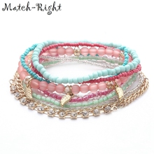 Match-Right Women Bohemia Jewelry of Multilayer Elastic Weave Set Bracelets & Bangles with Leaf Charm Wrap Beads Bracelet LG-070