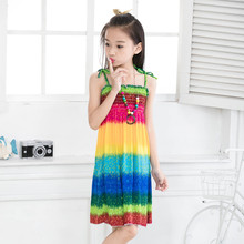 Dresses Summer 2017 Girls Bohemian sundress Colorful Beach dress print viscose sleeveless onepiece Robe fille enfant Disfraces(China)