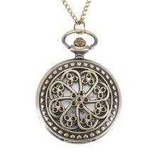 2017 Hollow Flower Case Pocket Watches Vintage Pendant Women Chain Clock Necklace Watch For Lover Couple Gift  LL@17