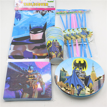 57pcs\lot Baby Shower Decoration Tablecloth Kids Favors Cups Batman Napkins Paper Plates Happy Birthday Straws Party Supplies