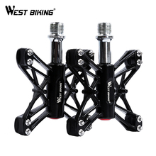 WEST BIKING 3 Bearings Bicycle Pedals Ultralight Mountain Bike Pedal Road Cycling Pedals Magnesium Flat Pedals Terrain Titanium