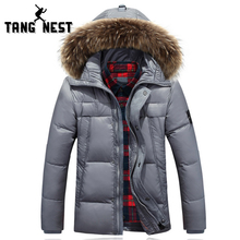 TANGNEST Solid Color New Arrival 2017 Fur Hooded Top Selling Men's Down Jackets Winter Warm High Quality Down Coat MWY220