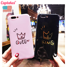 Cuptakes Luxury Gold Plated Soft Silicone Case for Apple iPhone 6 6S 7 Plus 8 X Cover Cute Queen King Love Coque Phone Cases(China)