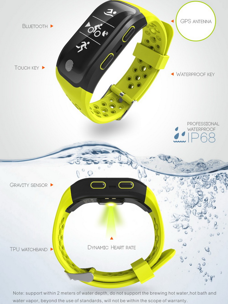 GPS Sports Smart Band IP68 Waterproof Swimming Wristband Bluetooth Heart Rate Monitor Fitness Tracker Measure Mileage S908 Watch 4