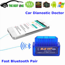 Best Quality Super Mini Elm327 Bluetooth V2.1 OBDII Interface ELM 327 Android Torque OBD2 Scanner Car Diagnostic Tool Free Ship(China)