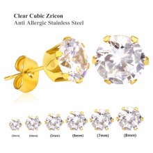 Clear Stud Earrings,Brilliant Round Cut CZ Zircon gold Vacuum color Stainless Steel - Sizes 3mm To 10mm(20pieces/10pairs)(China)