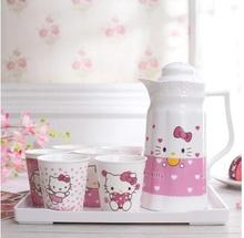1 Tray+1 Bottle+6 Cups Kawaii 8 In 1 Knit Hello Kitty Ceramic Tea Cup Set Coffee Cup Set Best Gift For Women