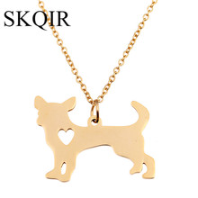 SKQIR Hot Dog Suspension Pendant Necklace Standing Chihuahua Animal Gold Long Chain Stainless Steel Retro Jewelry