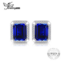 Jewelrypalace Men Luxury 8.6ct Created Sapphire Wedding Cufflinks 925 Sterling Sliver Jewelry Unique Fine Jewelry for Men(China)