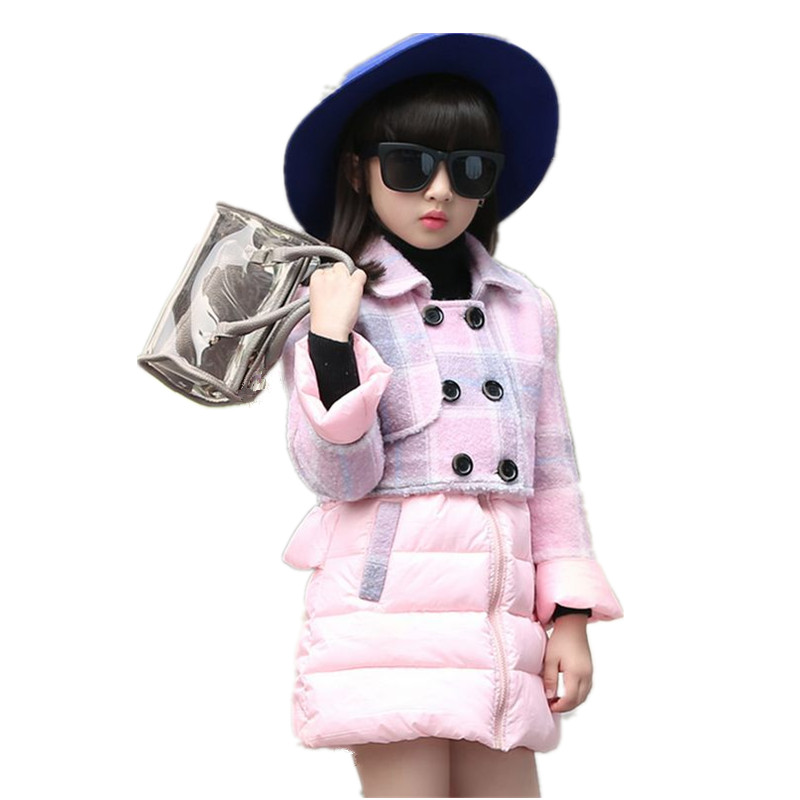 New Fashion Winter Girl Clothes Kids Long Sleeve Down Coat+Jumper Skirt Suit Princess Thicken Children two pieces Suit HL0573<br><br>Aliexpress