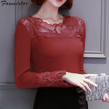 Black Red 3XL Velvet Thick Warm Winter Autumn Women New Lace Shirt Cotton Beading Long Sleeve Office Blouse Female Clothes Tops