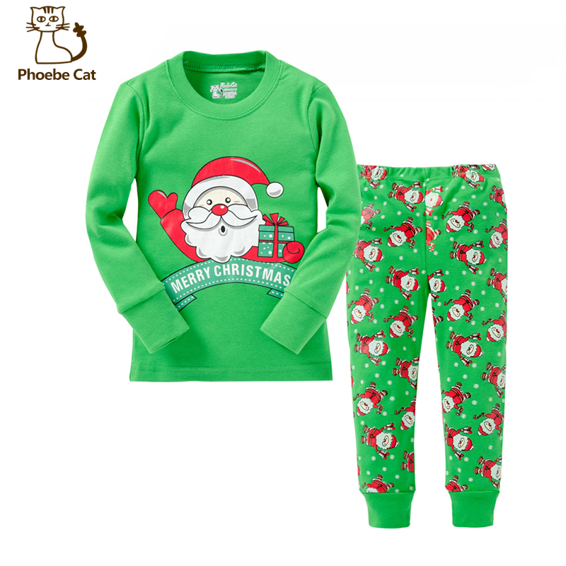Casual Children Clothes Set All Kid Clothing And Accessories Cartoon Santa Claus Boy Girl Clothes T-Shirt Pants Suits Home Wear<br><br>Aliexpress