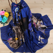 Winter Scarf 2017 New Adult Women Floral Fashion For Graffiti Pastoral Satin Silk Scarf Shawl Wholesale Manufacturers Direct