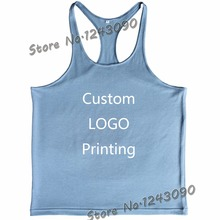 Custom LOGO Printing Men Tank Top Stringers Singlet Bodybuilding Clothing Golds Fitness Vest Muscle workout Shirt size S-M-L-XL